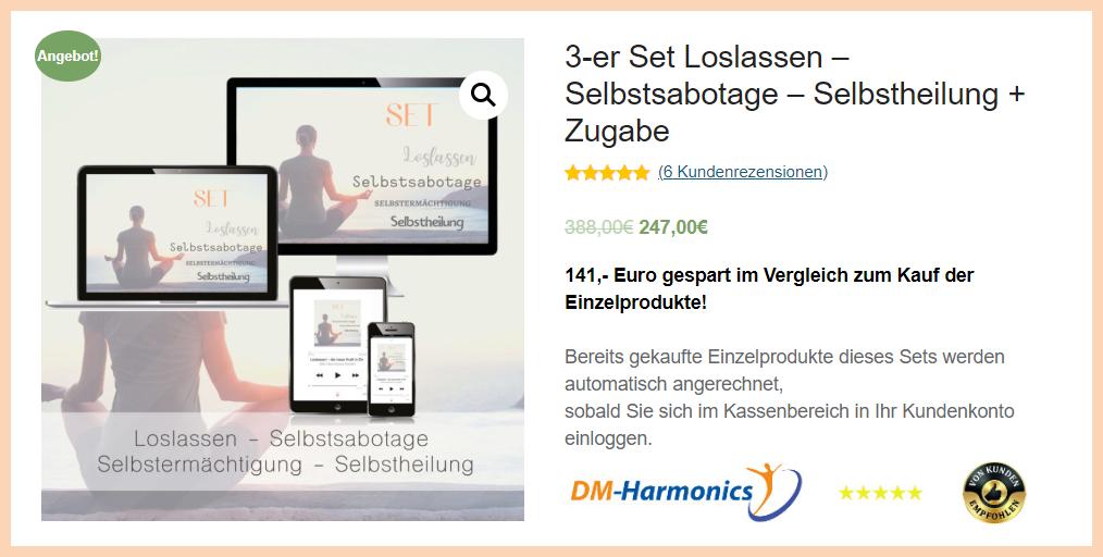 Binaurale Beats Audioprogramme im 3-er Set Loslassen, Selbstsabotage, Selbstliebe plus Zugabe von DM-Harmonics